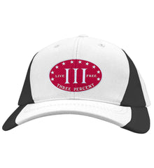 Three Percenter. Live Free. Hat. Sport-Tek Mid-Profile Colorblock Cap. (Embroidered)