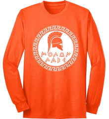 Molon Labe. Spartan Helmet. White Print. Port & Co. Long Sleeve Shirt. Made in the USA..