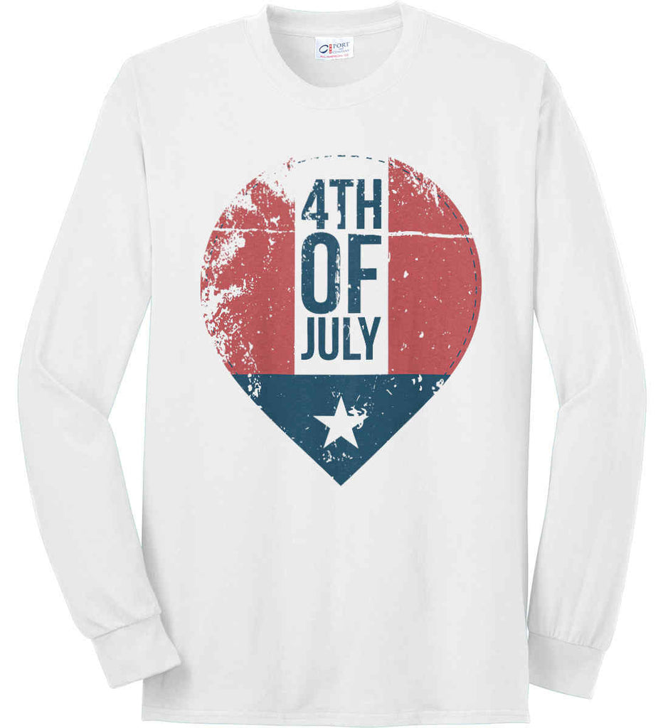 4th of July with Star. Port & Co. Long Sleeve Shirt. Made in the USA..-2