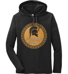Molon Labe Spartan Helment. Gold Print. Anvil Long Sleeve T-Shirt Hoodie.