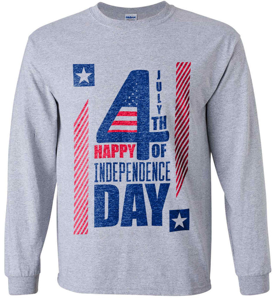4th of July with Stars and Stripes. Gildan Ultra Cotton Long Sleeve Shirt.-3
