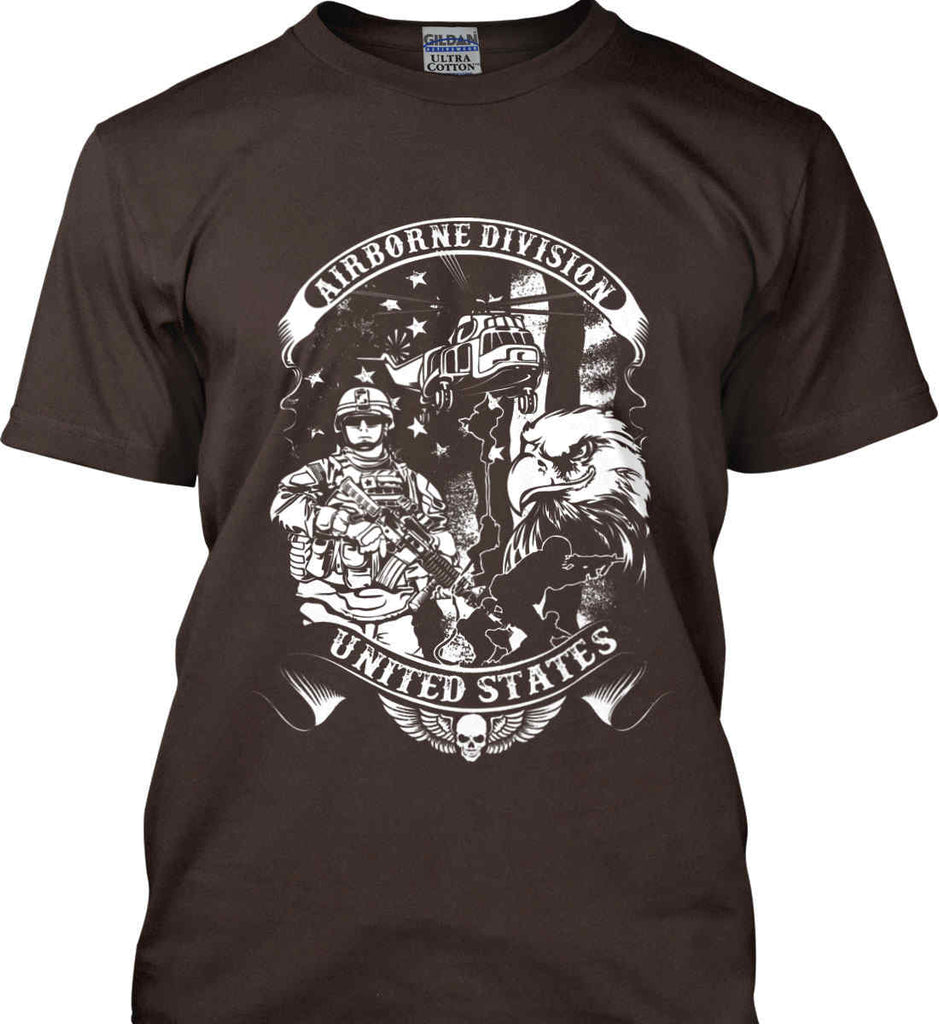 Airborne Division. United States. White Print. Gildan Ultra Cotton T-Shirt.-4