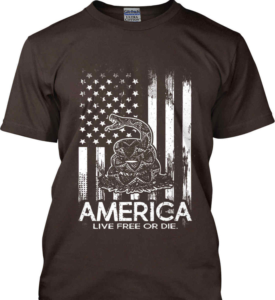 America. Live Free or Die. Don't Tread on Me. White Print. Gildan Ultra Cotton T-Shirt.-10