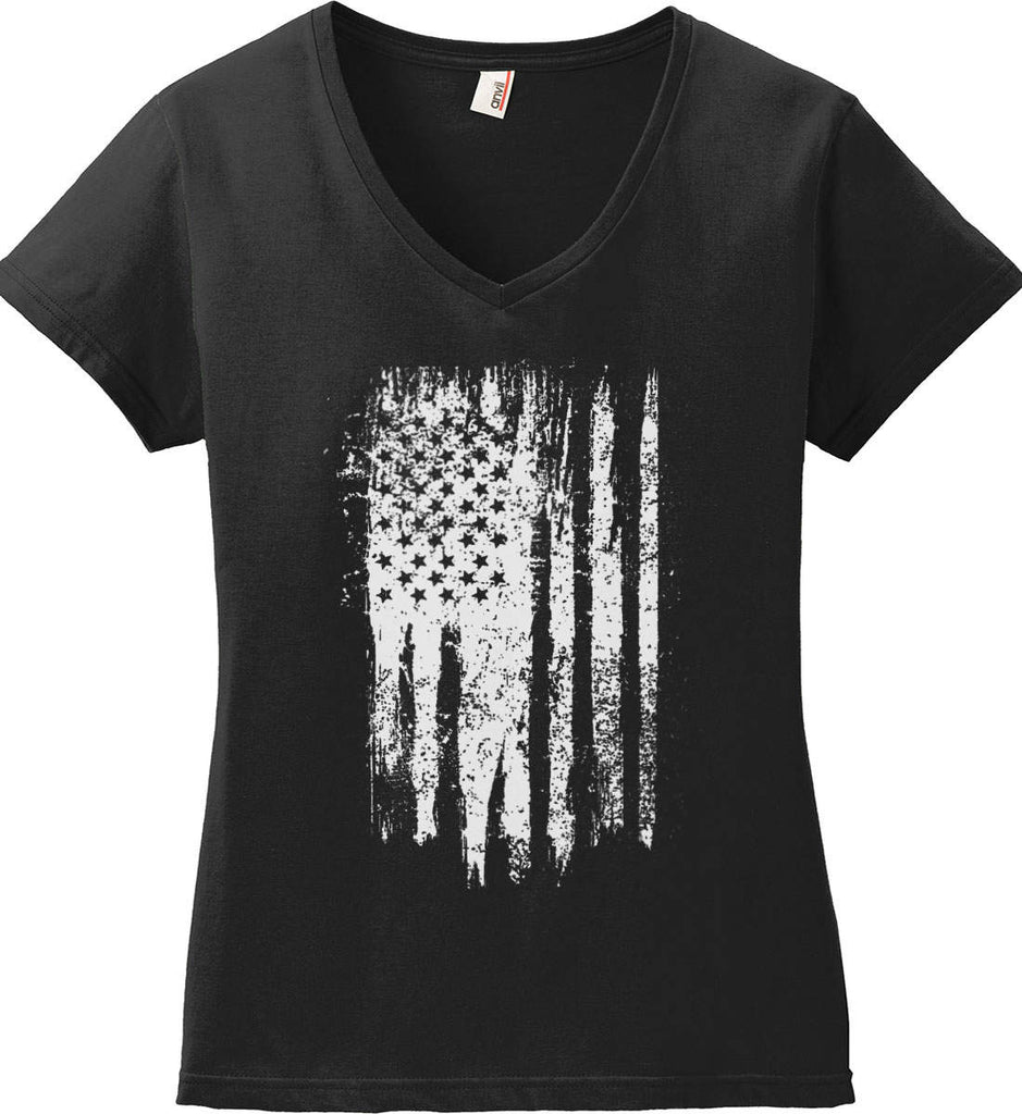 Grungy Grey USA Flag Women's: Anvil Ladies' V-Neck T-Shirt.-1