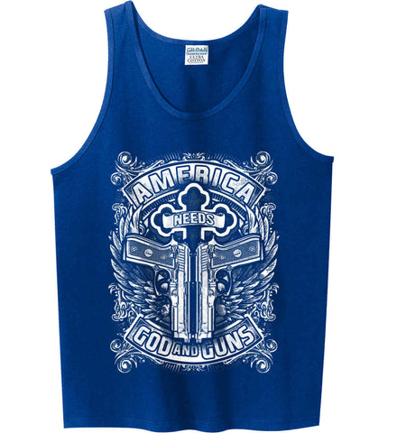 America Needs God and Guns. White Print. Gildan 100% Cotton Tank Top.