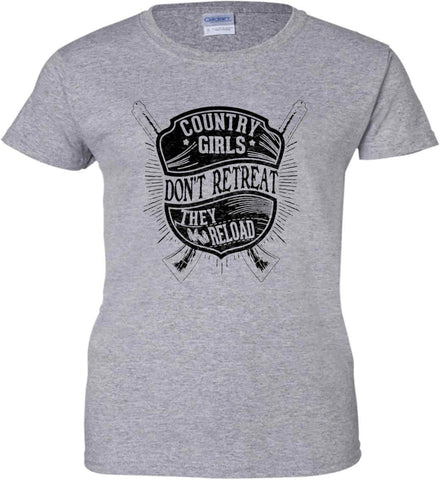 Country Girls Don't Retreat. They Reload. Women's Second Amendment. Black Print. Women's: Gildan Ladies' 100% Cotton T-Shirt.