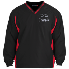 We the People. White Text. Sport-Tek Tipped V-Neck Windshirt. (Embroidered)