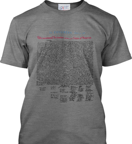 Declaration of Independence. Black Print. Port & Co. Made in the USA T-Shirt.