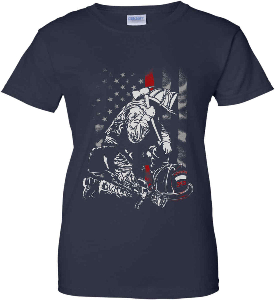 Thin Red Line. Kneeling Firefighter Ax. Women's: Gildan Ladies' 100% Cotton T-Shirt.-2