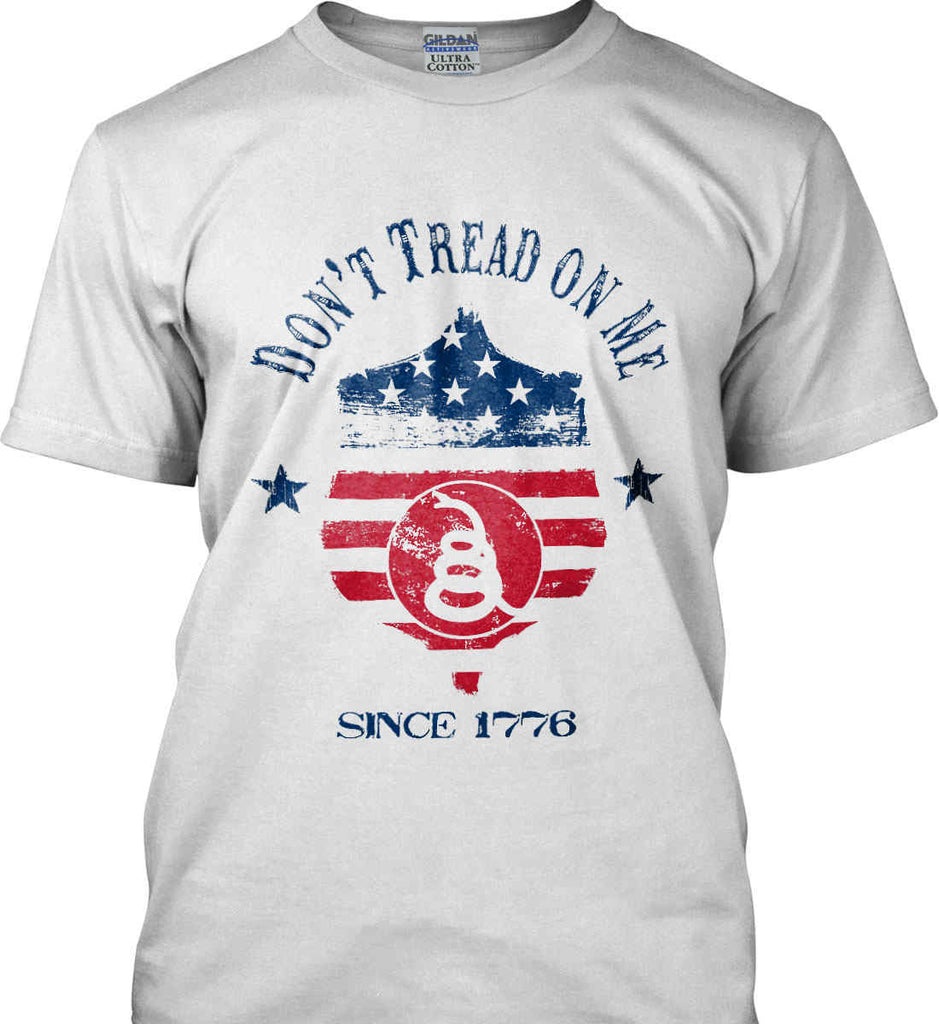 Don't Tread on Me. Snake on Shield. Red, White and Blue. Gildan Tall Ultra Cotton T-Shirt.-1