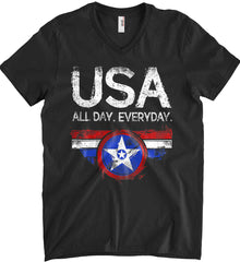 USA All Day Everyday. Anvil Men's Printed V-Neck T-Shirt.
