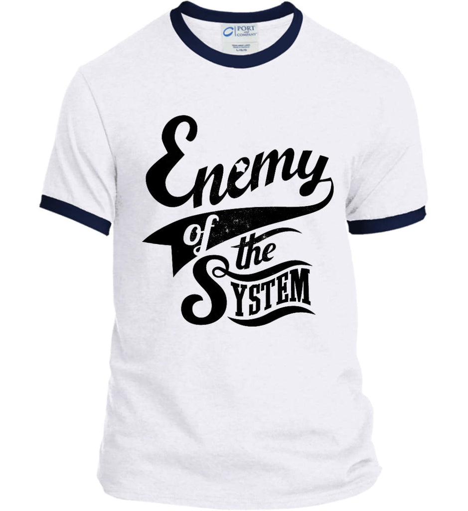 Enemy of The System. Port and Company Ringer Tee.-3