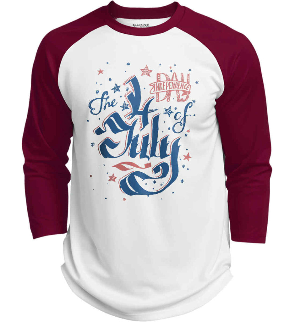 The 4th of July. Ribbon Script. Sport-Tek Polyester Game Baseball Jersey.-3