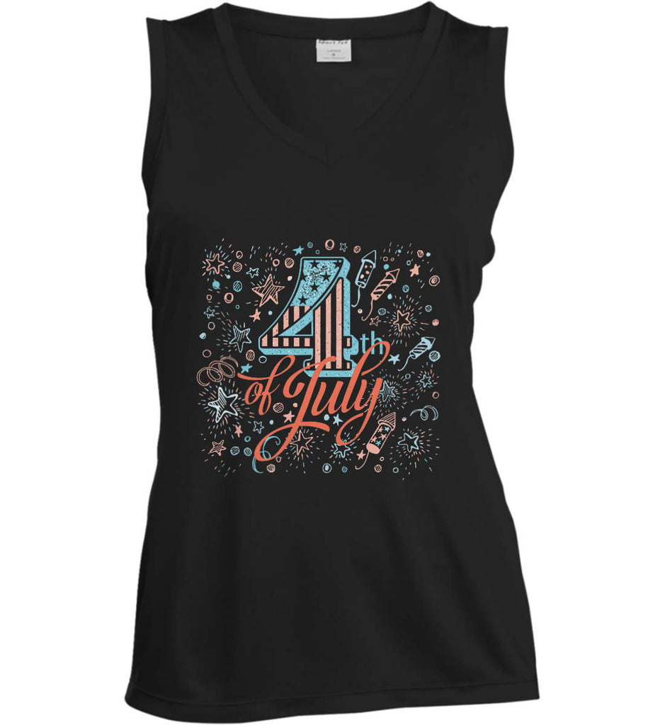 4th of July. Stars and Rockets. Women's: Sport-Tek Ladies' Sleeveless Moisture Absorbing V-Neck.-2