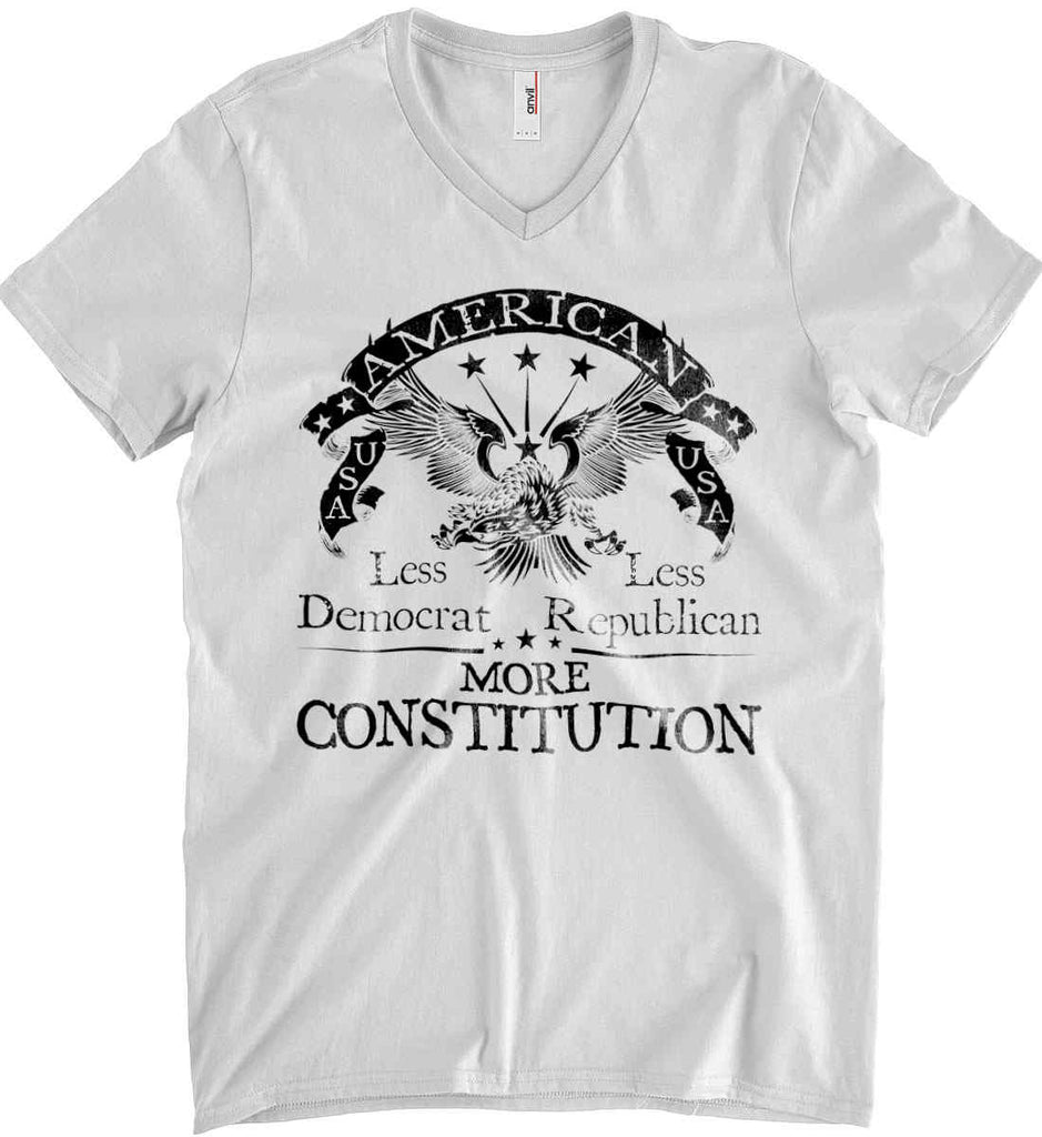 America: Less Democrat - Less Republican. More Constitution. Black Print Anvil Men's Printed V-Neck T-Shirt.-1