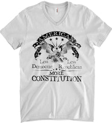 America: Less Democrat - Less Republican. More Constitution. Black Print Anvil Men's Printed V-Neck T-Shirt.