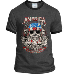 America. 2nd Amendment Patriots. Port and Company Ringer Tee.