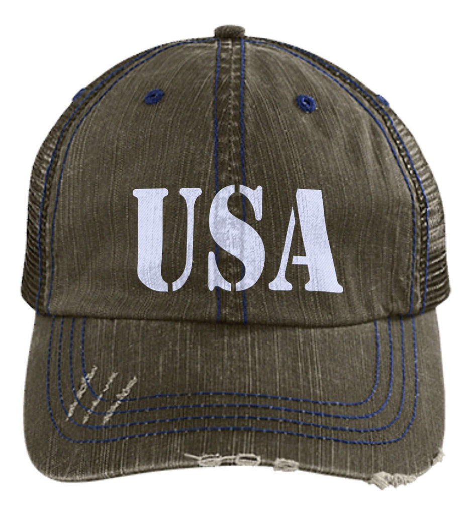 USA Patriot Hat Distressed Unstructured Trucker Cap. (Embroidered)-2