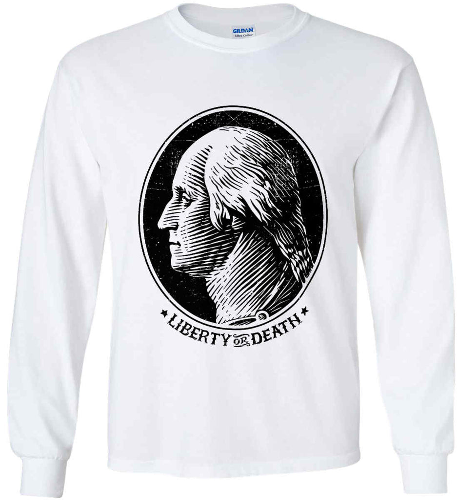 George Washington Liberty or Death. Black Print Gildan Ultra Cotton Long Sleeve Shirt.-1