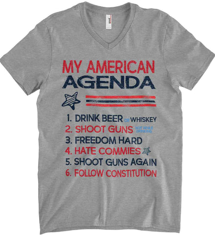 My American Agenda. Anvil Men's Printed V-Neck T-Shirt.