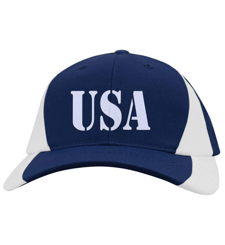 USA Patriot Hat Sport-Tek Mid-Profile Colorblock Cap. (Embroidered)-6
