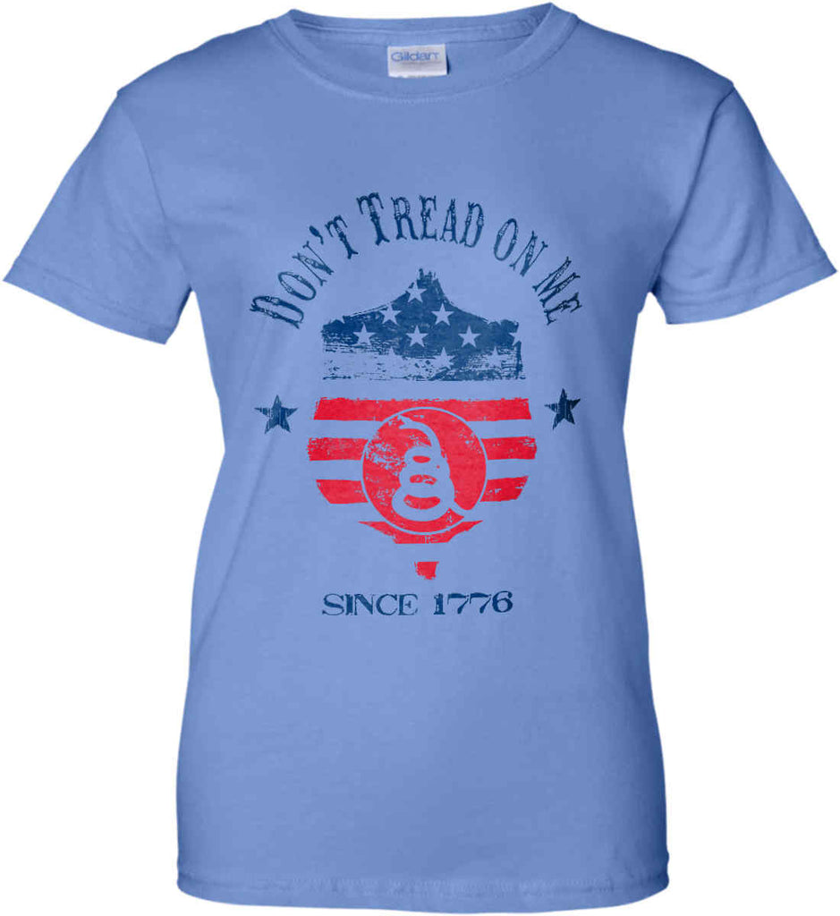 Don't Tread on Me. Snake on Shield. Red, White and Blue. Women's: Gildan Ladies' 100% Cotton T-Shirt.-4