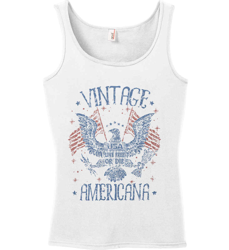 Vintage Americana Faded Grunge Women's: Anvil Ladies' 100% Ringspun Cotton Tank Top.-1
