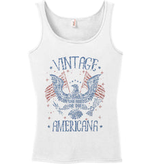 Vintage Americana Faded Grunge Women's: Anvil Ladies' 100% Ringspun Cotton Tank Top.