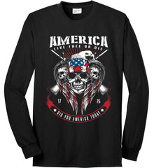 Did you America Today. 1776. Live Free or Die. Skull. Port & Co. Long Sleeve Shirt. Made in the USA..