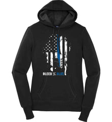 Bleed the Blue. Grungy Blue Line Flag. Women's: Sport-Tek Ladies Pullover Hooded Sweatshirt.