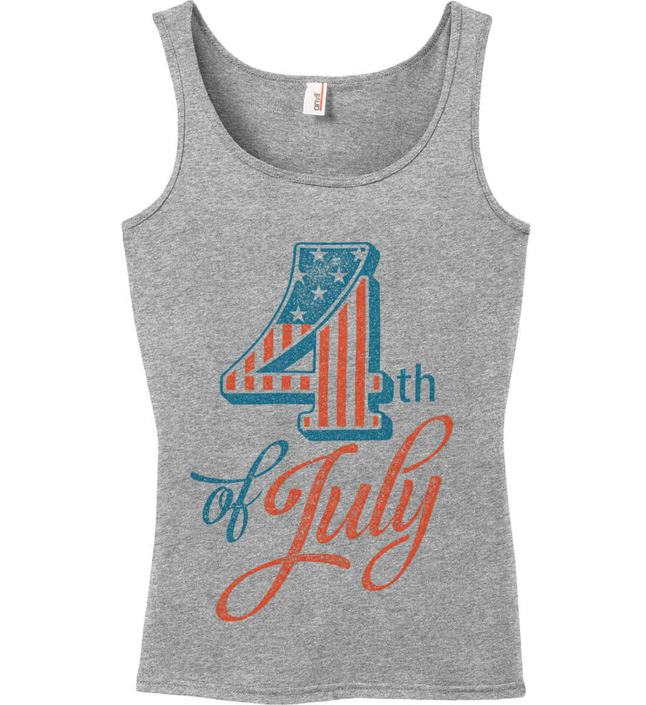 4th of July. Faded Grunge. Women's: Anvil Ladies' 100% Ringspun Cotton Tank Top.-1