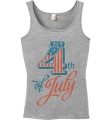 4th of July. Faded Grunge. Women's: Anvil Ladies' 100% Ringspun Cotton Tank Top.