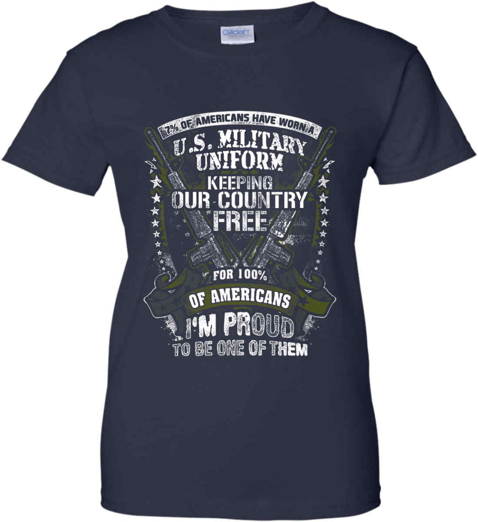 7% of Americans Have Worn a Military Uniform. I am proud to be one of them. Women's: Gildan Ladies' 100% Cotton T-Shirt.-2