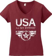 USA All Day Everyday. White Print. Women's: Anvil Ladies' V-Neck T-Shirt.