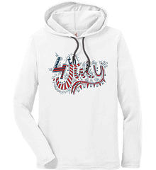 July 4th Red, White and Blue. Anvil Long Sleeve T-Shirt Hoodie.