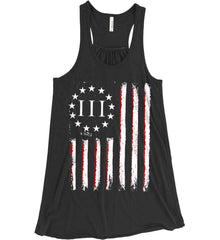 Three Percent on American Flag. Women's: Bella + Canvas Flowy Racerback Tank.
