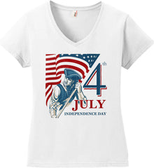 Patriot Flag. July 4th. Independence Day. Women's: Anvil Ladies' V-Neck T-Shirt.