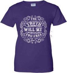 The Truth Shall Set You Free. Women's: Gildan Ladies' 100% Cotton T-Shirt.