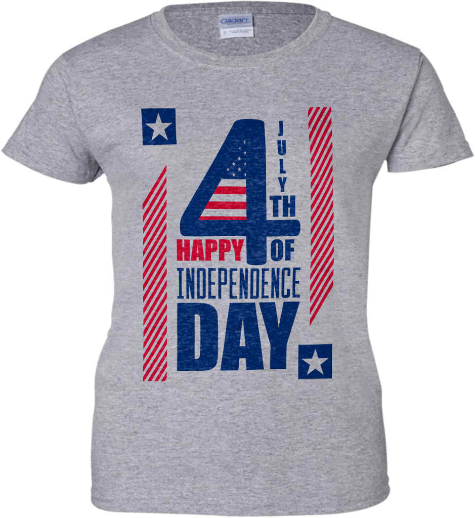 4th of July with Stars and Stripes. Women's: Gildan Ladies' 100% Cotton T-Shirt.-4