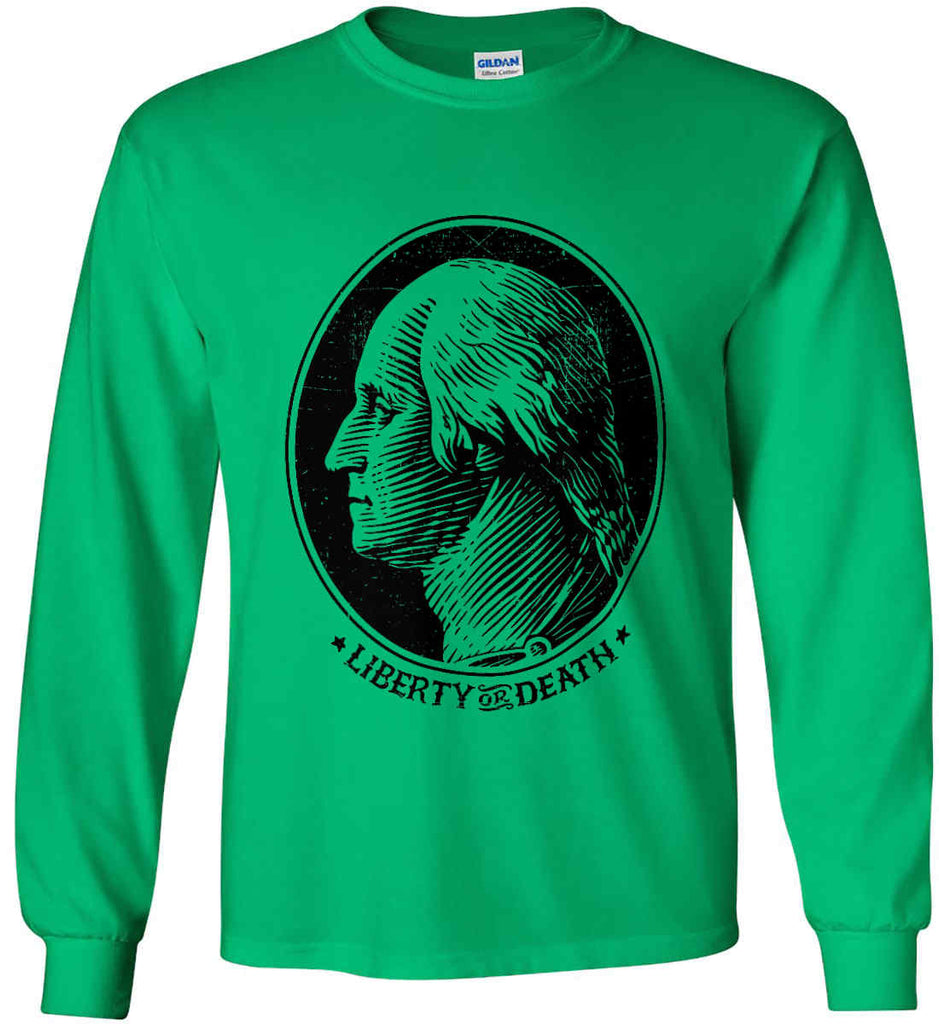 George Washington Liberty or Death. Black Print Gildan Ultra Cotton Long Sleeve Shirt.-6