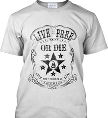 Live Free or Die. Don't Tread on Me. 1776. Black Print. Port & Co. Made in the USA T-Shirt.