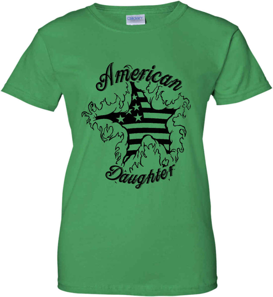 American Daughter. Women's Patriot Design. Women's: Gildan Ladies' 100% Cotton T-Shirt.-10