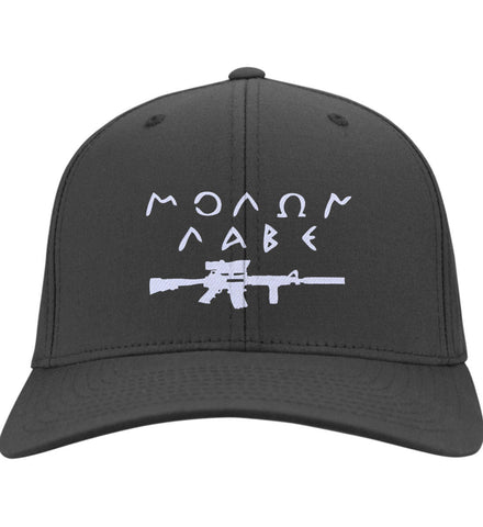 Molon Labe Rifle Hat. Port & Co. Twill Baseball Cap. (Embroidered)