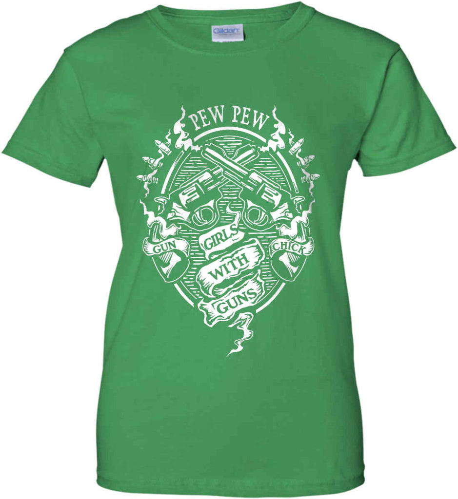 Pew Pew. Girls with Guns. Gun Chick. Women's: Gildan Ladies' 100% Cotton T-Shirt.-8