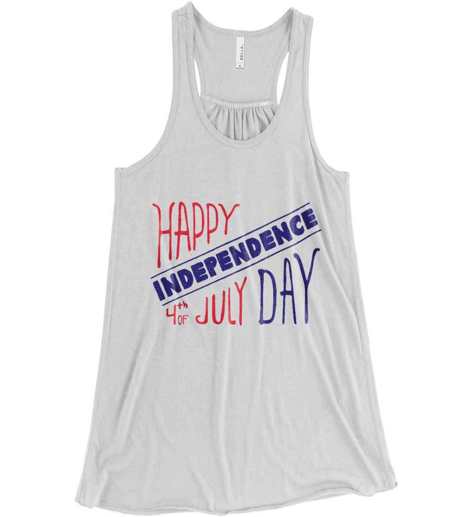 Happy Independence Day. 4th of July. Women's: Bella + Canvas Flowy Racerback Tank.-1