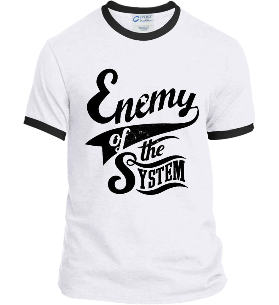Enemy of The System. Port and Company Ringer Tee.-1