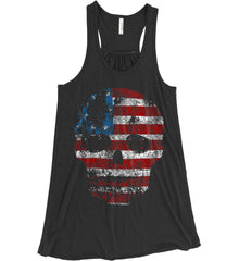 American Skull. Red, White and Blue. Women's: Bella + Canvas Flowy Racerback Tank.