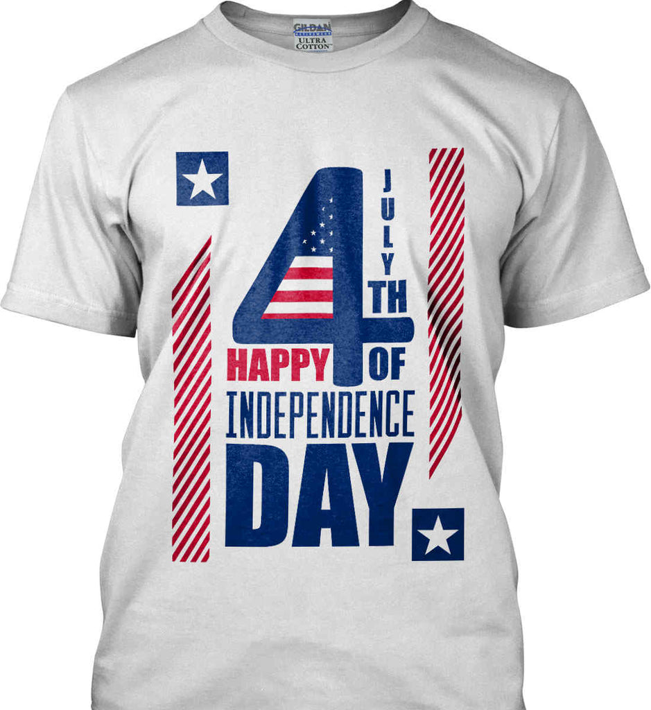 4th of July with Stars and Stripes. Gildan Ultra Cotton T-Shirt.-1
