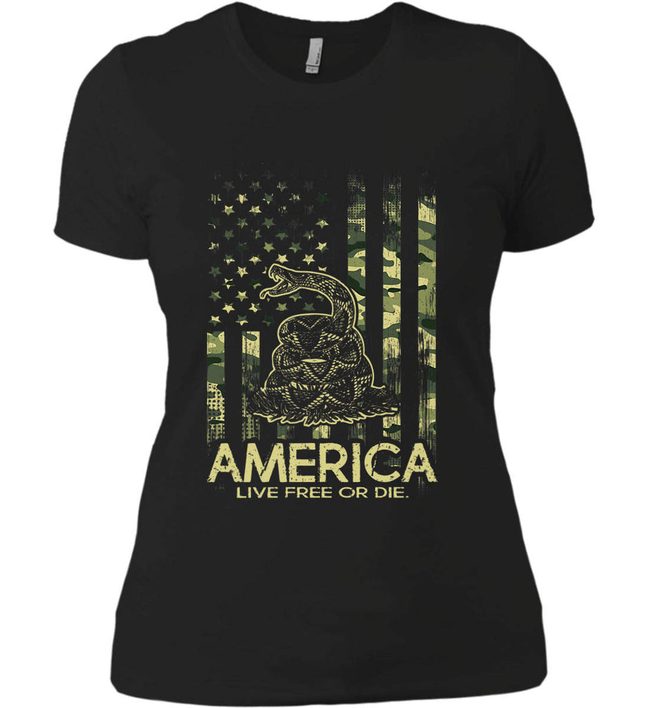 America. Live Free or Die. Don't Tread on Me. Camo. Women's: Next Level Ladies' Boyfriend (Girly) T-Shirt.-1