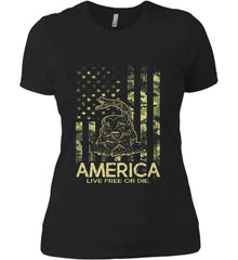 America. Live Free or Die. Don't Tread on Me. Camo. Women's: Next Level Ladies' Boyfriend (Girly) T-Shirt.